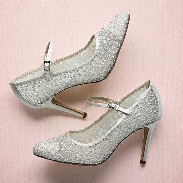 Silver Bridal Shoes Lace Heels Mary Jane Pumps for Wedding image 1