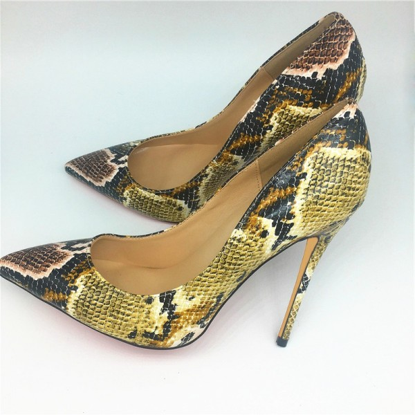 Women's Yellow Stiletto Heels Pointy Toe Python Pumps  image 1