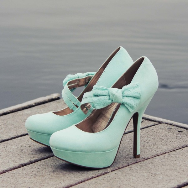 Women's Cyan Mary Jane Pumps Bow Platform Heels Shoes image 1