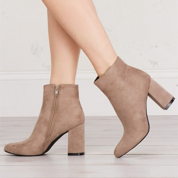 Women's Khaki Chunky Heel Boots Suede Almond Toe Ankle Boots image 1