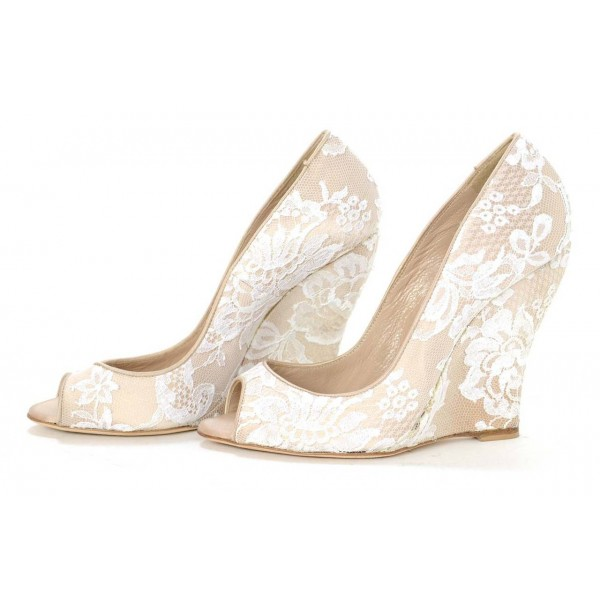 a89ac4a79452 Women s Nude Peep Toe Wedding Shoes Lace Wedge Heel Pumps for ...