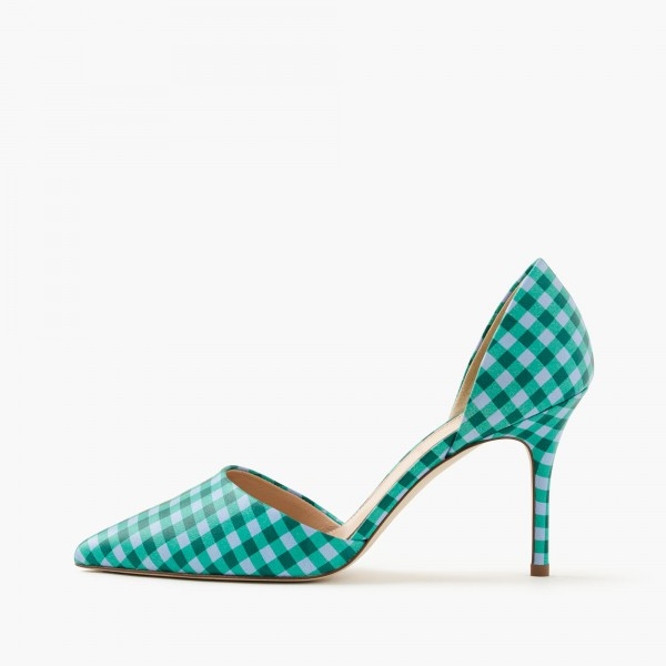 Women's Green Pointy Toe D'orsay Plaid Stiletto Heels Pumps image 1