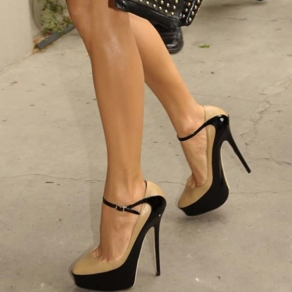 Nude and Black Platform Heels Almond Toe Ankle Strap Pumps image 1