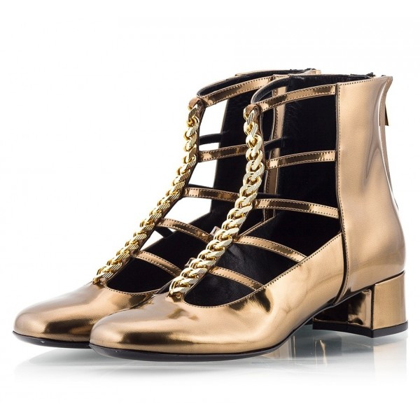 Women's Golden Fashion Boots Metal T strap Chunky Heels Ankle Boots image 1