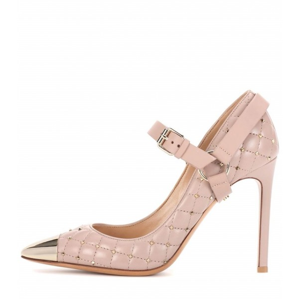 Blush Mary Jane Heels Studs Shoes Quilted Lining Stiletto Heel Pumps image 1