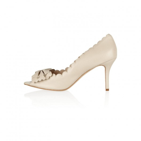Ivory Heels Peep Toe Stiletto Heel Bow Pumps image 1