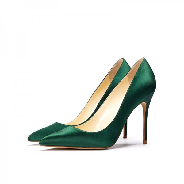 d34c3d4ef Green Satin Stiletto Heels Pointy Toe Dressy Pumps for Office Ladies image  1 ...