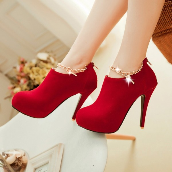Red Fashion Boots Suede Platform Ankle Booties with Metal Chains image 1