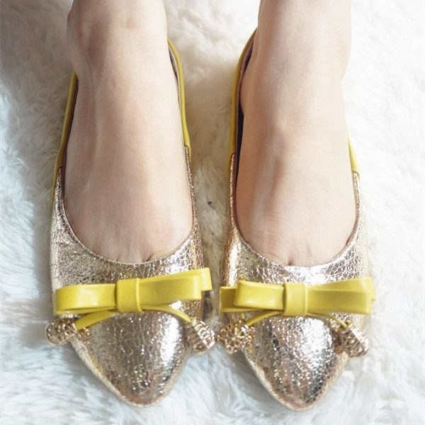 Women S Champagne Metal Wedding Shoes Yellow Bow Flats Image