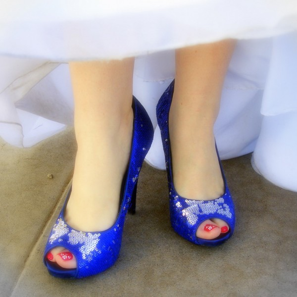 Women's Blue Bridal shoes Peep toe Sequined Stiletto Heel Pumps image 1
