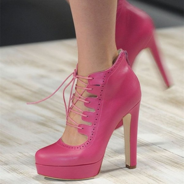 Pink Lace up Heels Platform Chunky Heel Pumps for Women image 1