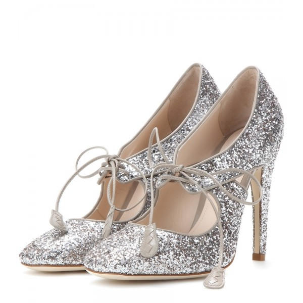 Silver Glitter Shoes Lace up Sparkly Stieltto Heel Pumps image 1