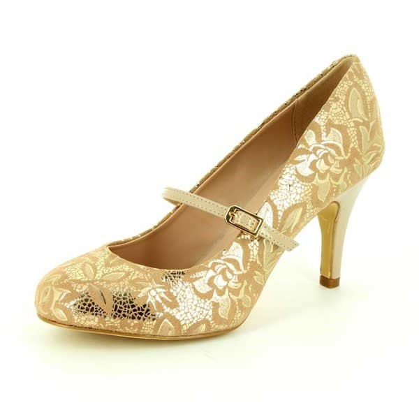 Women's Golden Wedding Shoes Mary Jane Floral Stiletto Heel Pumps image 1