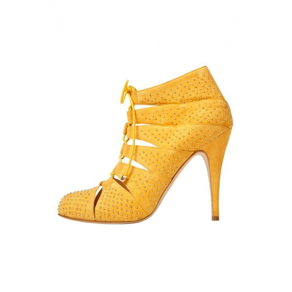 Mustard Lace up Boots Chunky Heel Studs Shoes Ankle Booties image 1