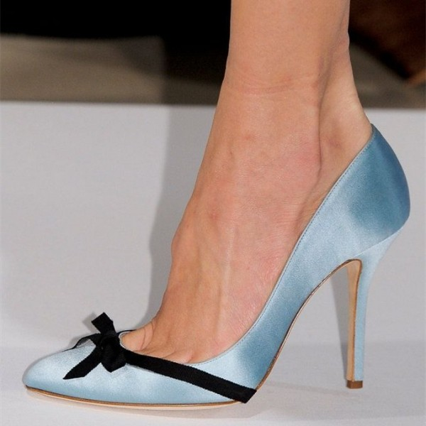 Women's Cute Light Blue Stiletto Heels Pointy Toe Pumps With Black Bows image 1