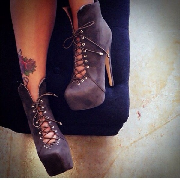 Dark Grey Platform Boots Lace up Fashion Ankle Boots for Women image 1