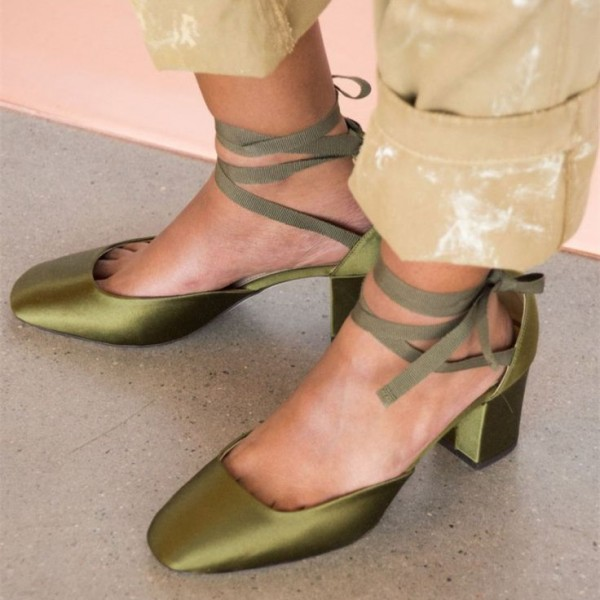 Green Strappy Heels Satin Square Toe Lace up Chunky Heel Pumps image 1