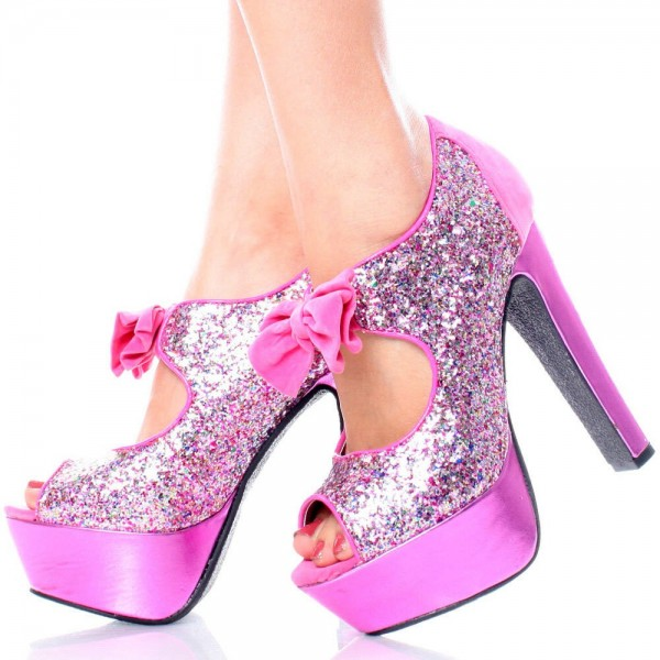 Women's Glitter Pink Peep Toe Shoes Platform Heels Cutout Pumps With Bow image 1