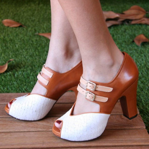 White and Tan Vintage Shoes Peep Toe Chunky Heels US Size 3-15 image 1