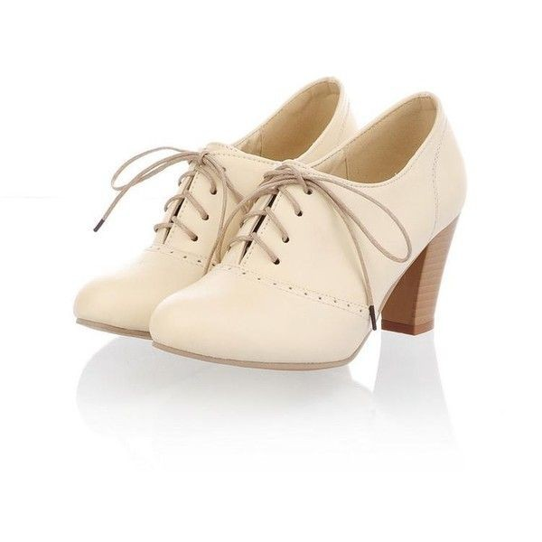 Beige Oxford Heels Lace up Chunky Heel Vintage Shoes US Size 3-15 image 1