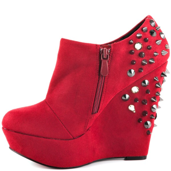 Red Wedge Shoes Fashion Boots Rivets Ankle Boots Suede Platform Almond Toe Boots image 1