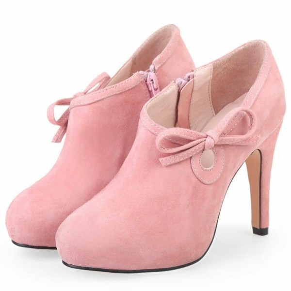 Lovely Pink Heeled Boots Suede Cute Platform Ankle Booties wth Bow image 2