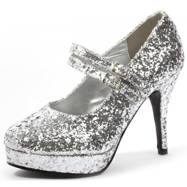 Women's Silver Stiletto Heel Platform Pumps Glitter Mary Jane Shoes image 1