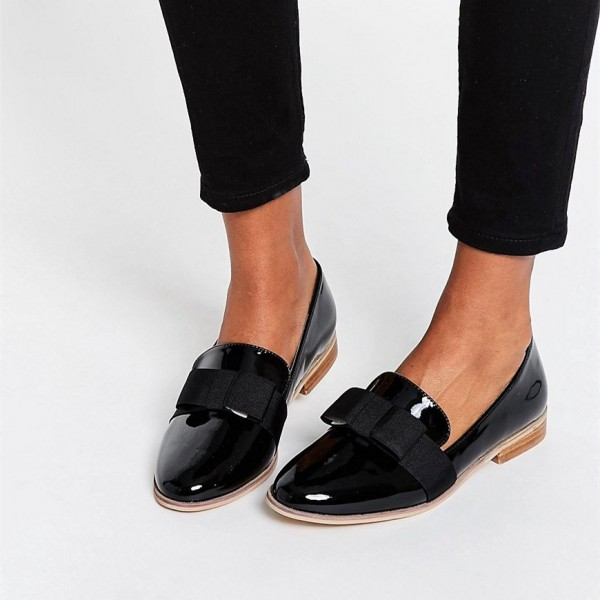 Black Patent Leather Round Toe Bow Flat Loafers For Women