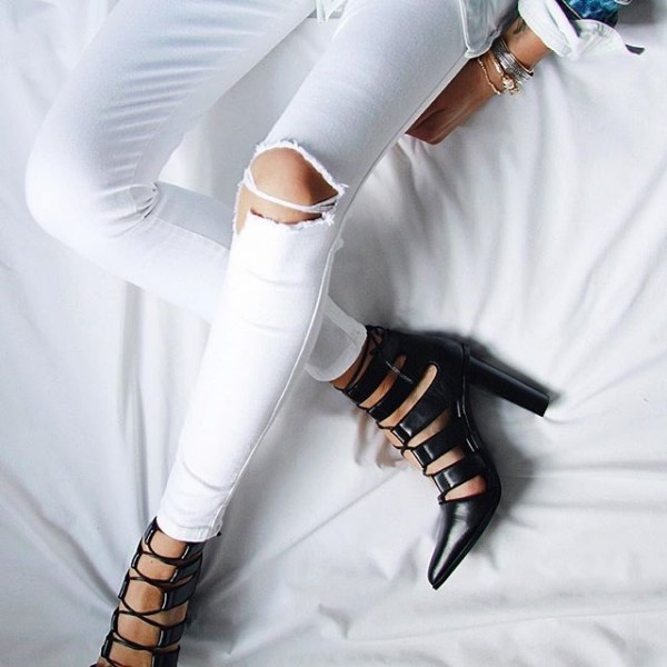 Black Lace up Heels Pointy Toe Chunky Heel Pumps for Women image 1