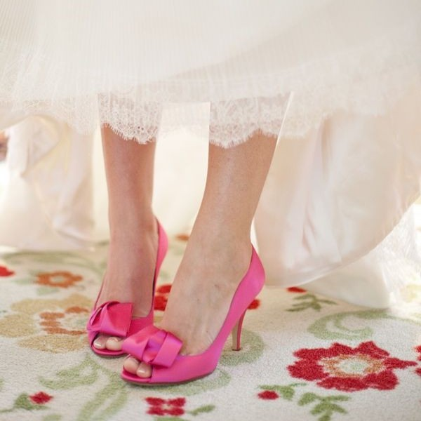 Fuchsia Wedding Shoes Peep Toe Stiletto Heel Bridesmaid Bow Pumps image 1