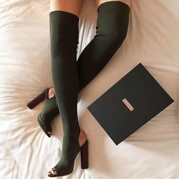 Dark Green Chunky Heel Boots Peep Toe Over-the-knee Boots for Women image 1