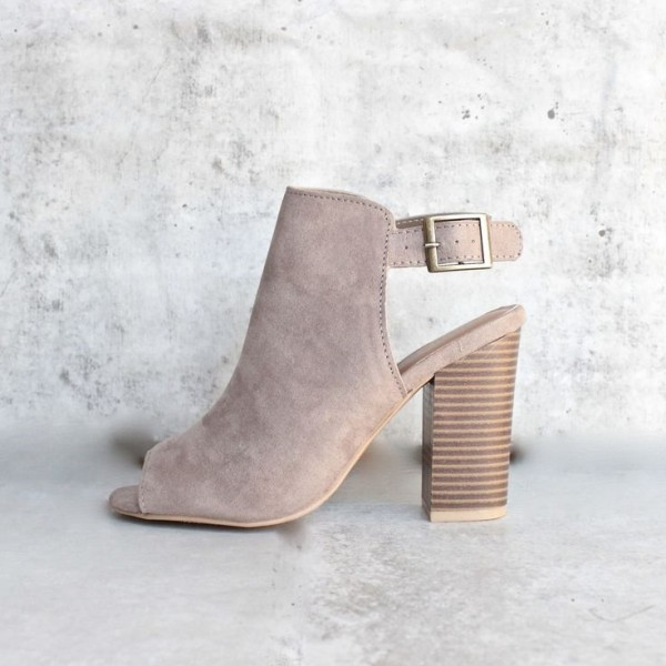 Taupe Peep Toe Booties Suede Slingback Wooden Chunky Heels image 1