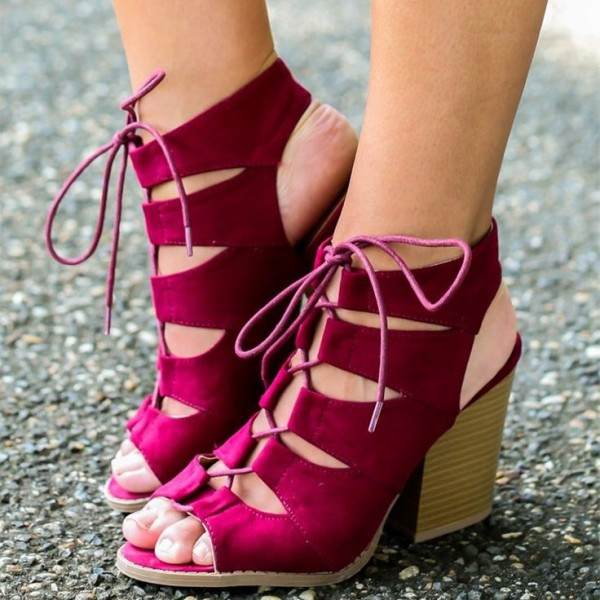Magenta Summer Boots Lace up Chunky Heel Slingback Ankle Boots image 1