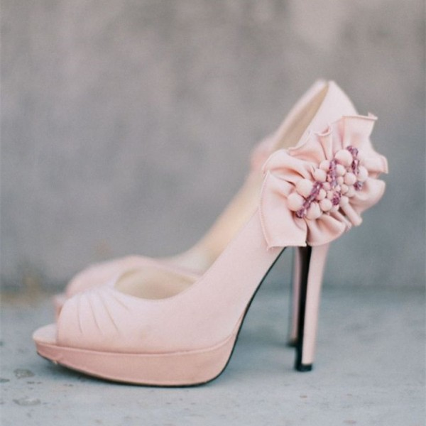 Light Pink Wedding Shoes Peep Toe Ruffles Pumps For Bridesmaid image 1