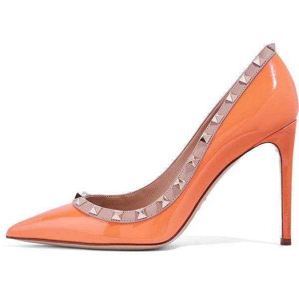 Orange 5 Inches Stiletto Heels Patent Leather Pumps with Gold Rivets image 1