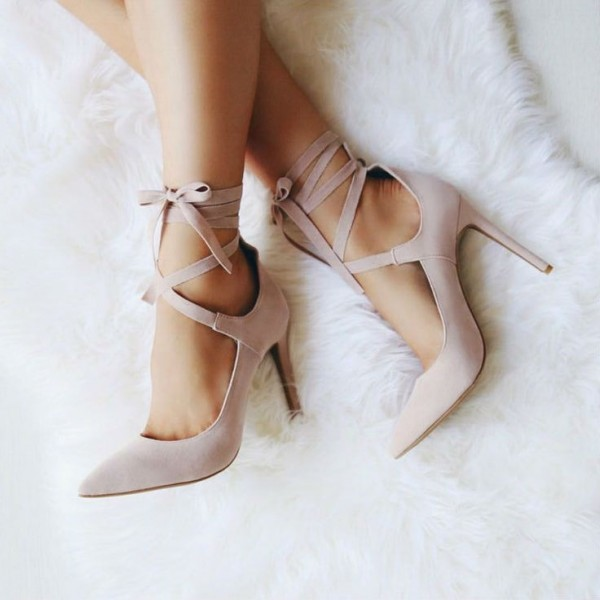 Blush Strappy Heels Pointy Toe Lace up Suede Stiletto Pumps image 1