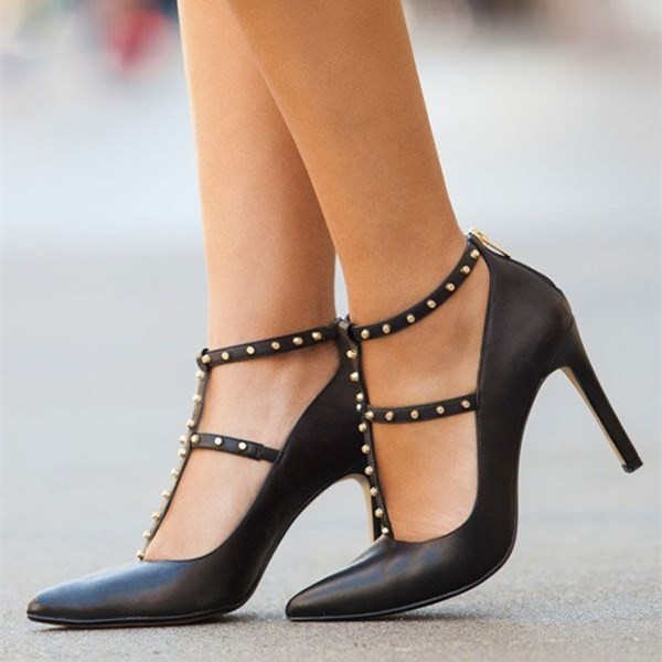 Black Studs Shoes T Strap Stiletto Heel Pumps Office Heels image 1