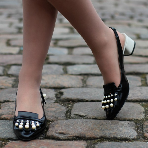 Black Patent Leather Block Heels Pearls Fringe Slingback Pumps image 1