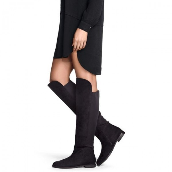 Black Suede Boots Round Toe Fashion Flat Knee High Boots image 1