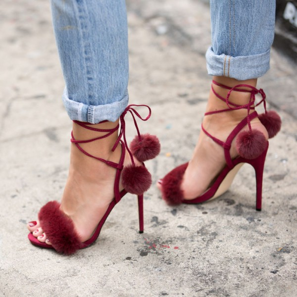 Burgundy Pom Pom Shoes Ankle Wrap Furry Heels Cute Strappy Sandals  image 1
