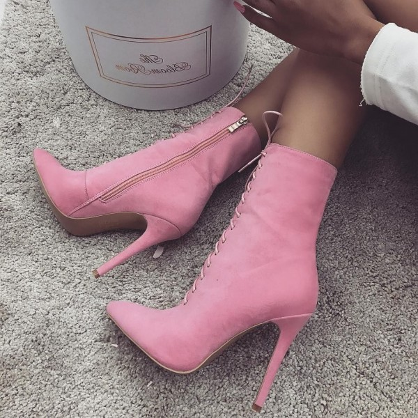 Pink Lace up Boots Stiletto Heel Suede