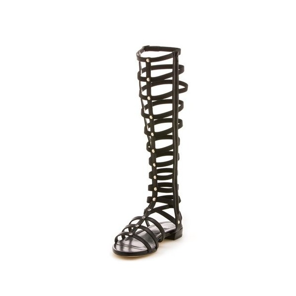 Black Gladiator Sandals Sexy Knee-high Strappy Heels Comfortable Flats image 3