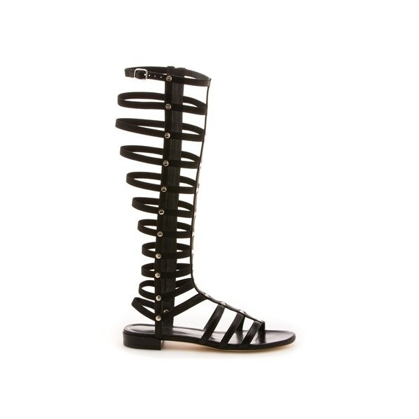 Black Gladiator Sandals Sexy Knee-high Strappy Heels Comfortable Flats image 2