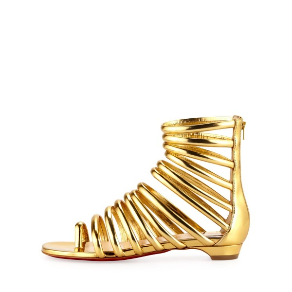 Gold Roman Sandals Open Toe Flats Gladiator Sandals image 2