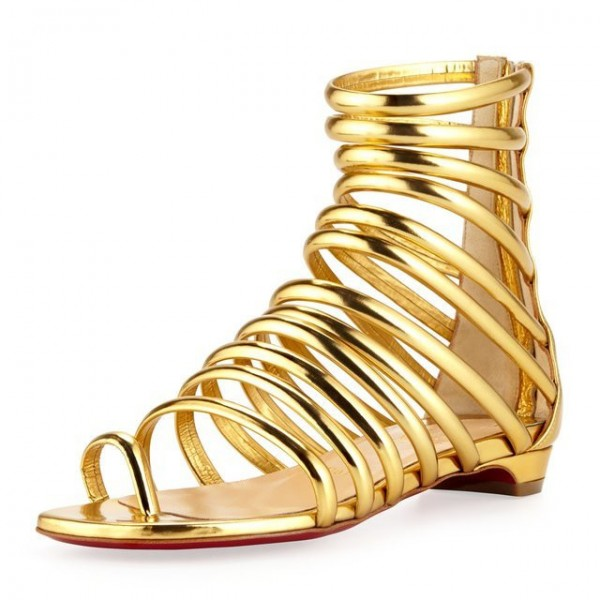 Gold Roman Sandals Open Toe Flats Gladiator Sandals image 1