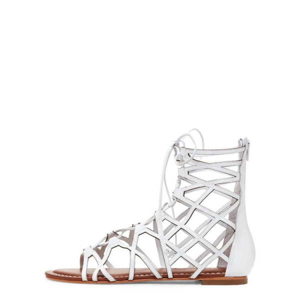 White Gladiator Sandals Hollow out Lace up Flats Size US 4-15 image 1