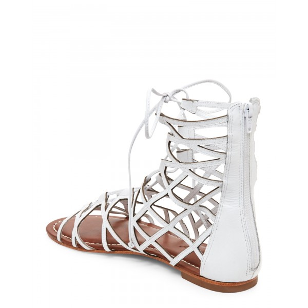 White Gladiator Sandals Hollow out Lace up Flats Size US 4-15 image 3