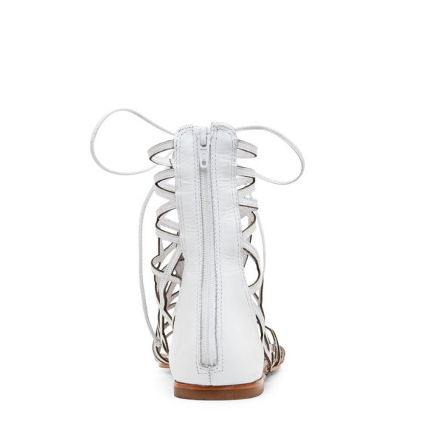 White Gladiator Sandals Hollow out Lace up Flats Size US 4-15 image 2