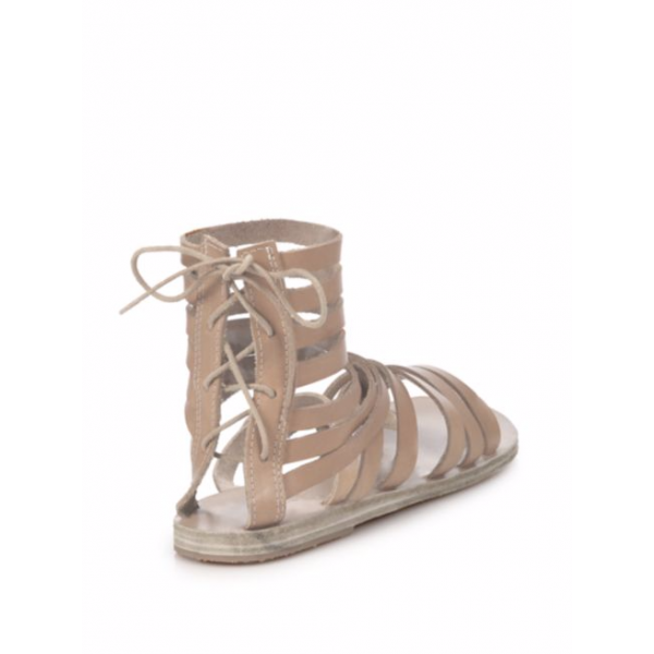 Women's Light Brown Hollow-out Flat Gladiator Sandals image 3