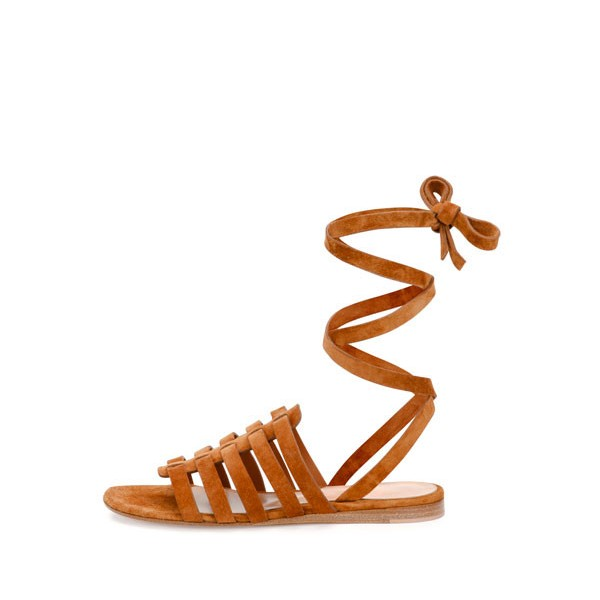 Tan Flats Gladiator Sandals Suede Strappy Summer Sandals image 3